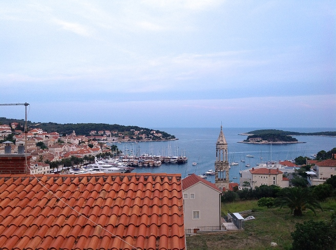 View of Hvar while climbing up to the city fortress