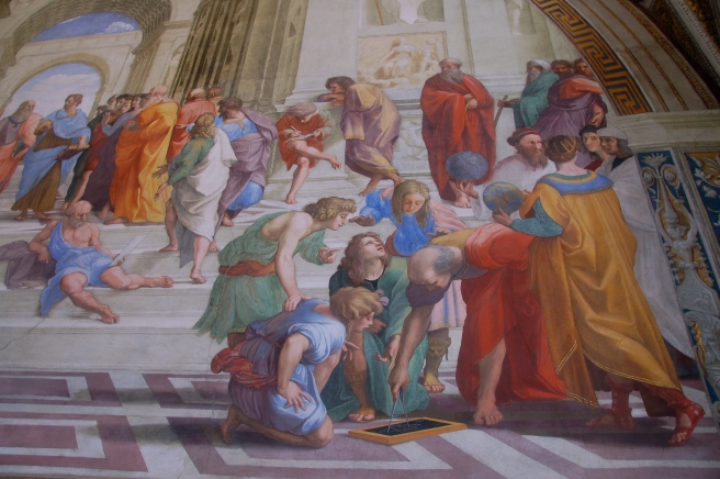 My favorite scene from the School of Athens, the 4 stages of learning...