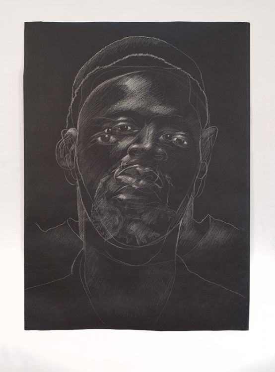 Titus Kaphar, The Jerome Project (Asphalt and Chalk) III, 2014, chalk on asphalt paper via Jack Shaiman Gallery
